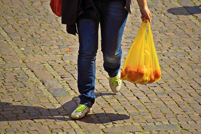 nákup v igelitové tašce