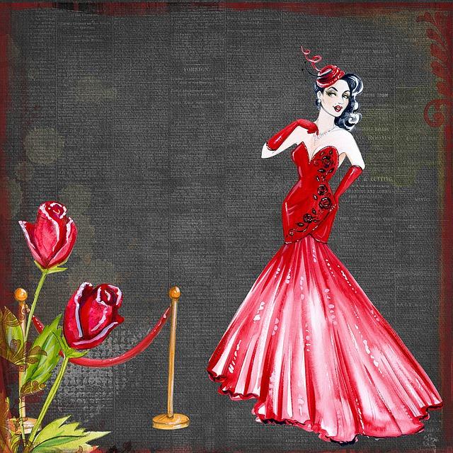 dáma v šatech a růže
