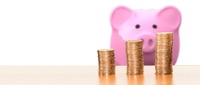 pokladnička růžové prasátko a mince