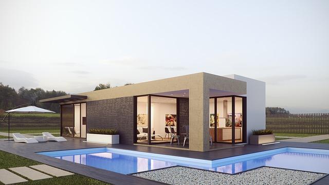 moderní jednoduchý dům a jeho okolí
